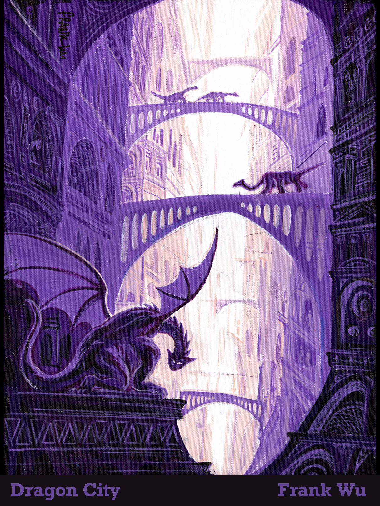 Dragon City. Unpublished. Small acrylic painting.